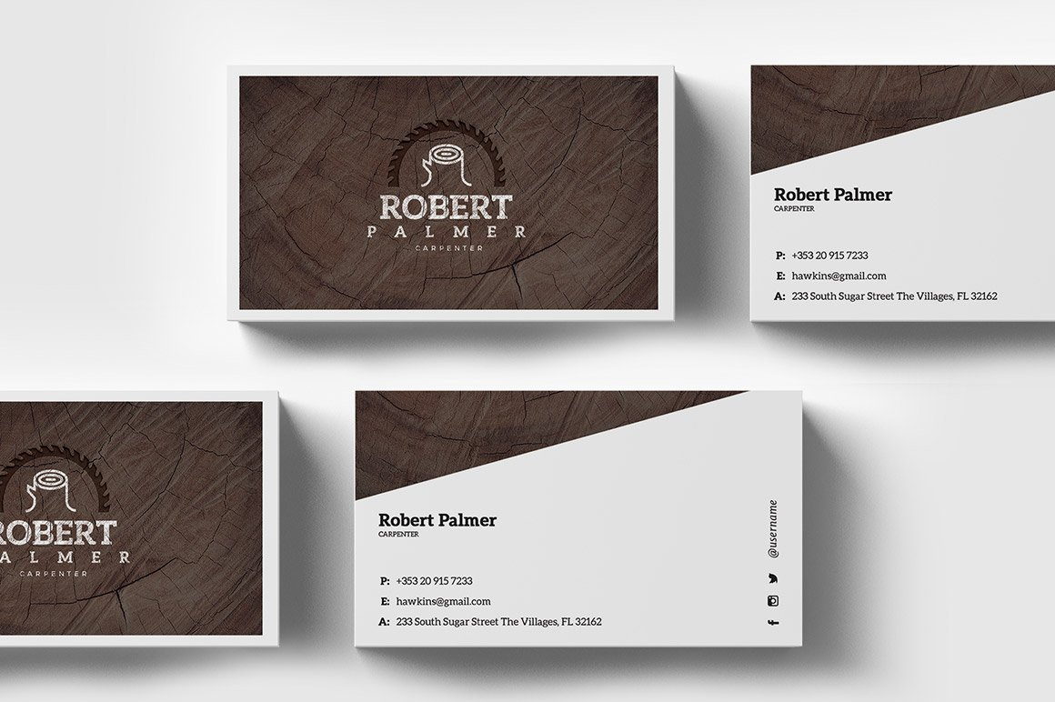 Handyman business card template business card templates creative carpenter business card template fbccfo Choice Image