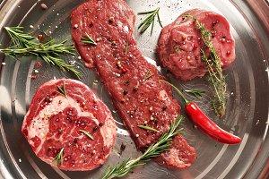 Fresh raw beef steaks