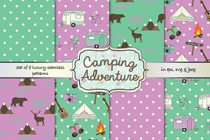 Camping seamless pattern set
