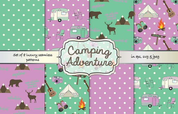 Camping Seamless Pattern Set