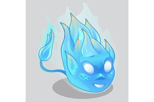 Blue fiery demon in cartoon style