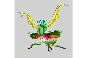 Grasshopper in cartoon style