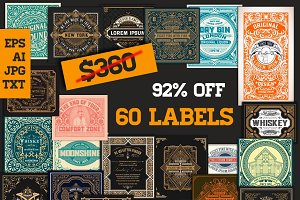 92% OFF Mega Pack 60 Labels bundle 4