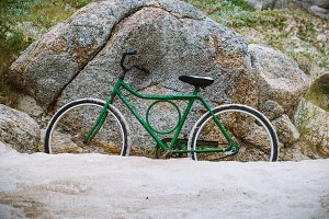 old vintage green bike