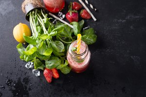 Ingredients for homemade strawberry lemonade