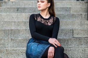 Beautiful brunette in a modern city