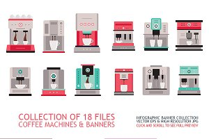Coffe machine set & banners 18 files