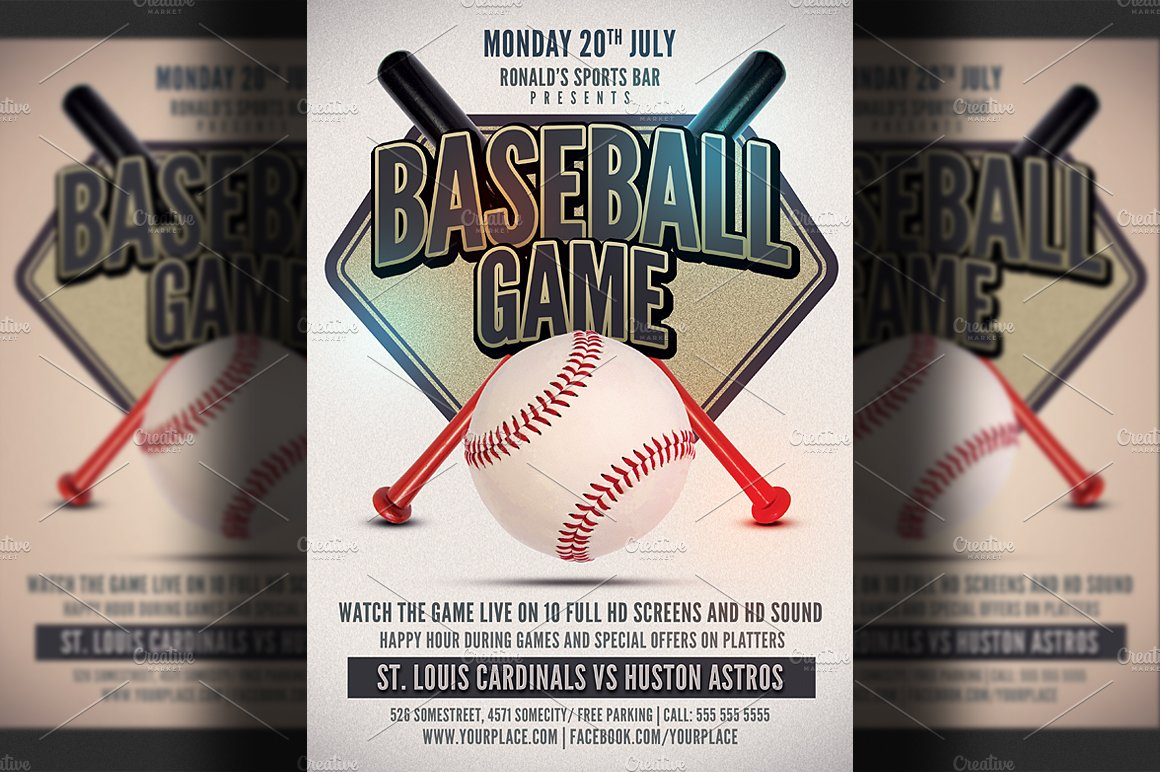 baseball game flyer template flyer templates creative market