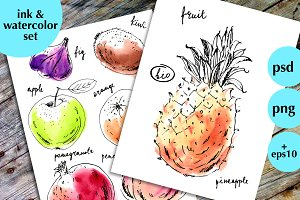 Ink and watercolor fruits