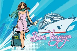Beautiful woman passenger Bon voyage cruise ship