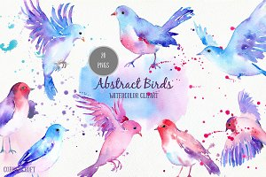 Watercolor Abstract Flying Birds