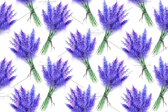 Watercolor Lavender Seamless Pattern