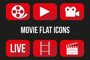 Movie and broadcast flat icons set