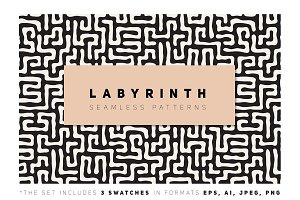 Labyrinth Seamless Patterns Set v.2