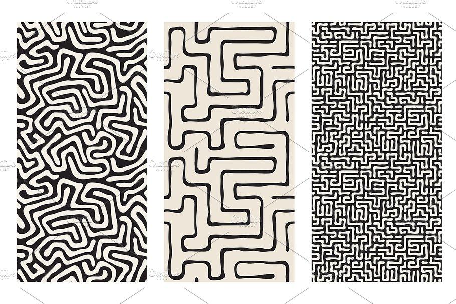 Labyrinth Seamless Patterns Set V40 Patterns Creative Market Pro Stunning Labyrinth Pattern