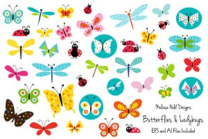 Butterflies and Ladybugs Clipart