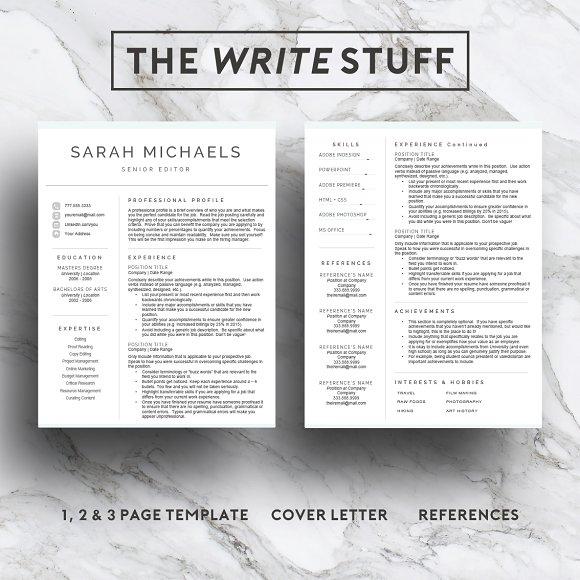 Resume Template| CV (1, 2 & 3 Page) ~ Resume Templates ~ Creative Market