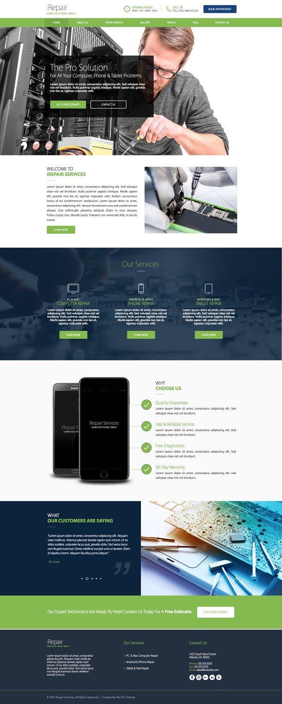 Computer Phone Repair Website Theme