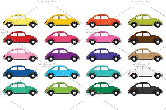 Classic Bug Car Clip Art Set