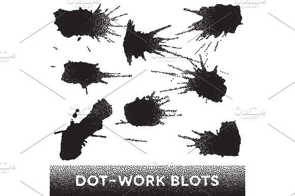 Set Of Black Ink Dotwork Blots