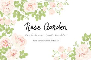 FONT SET&Rose Garden vector element