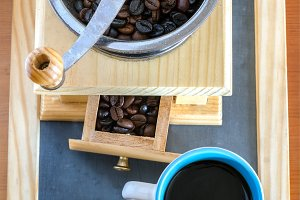 Cup of coffee, brewed with beans