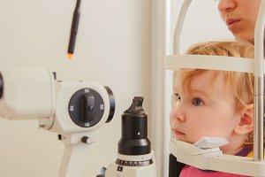 Portrait of a girl in the ophthalmic office