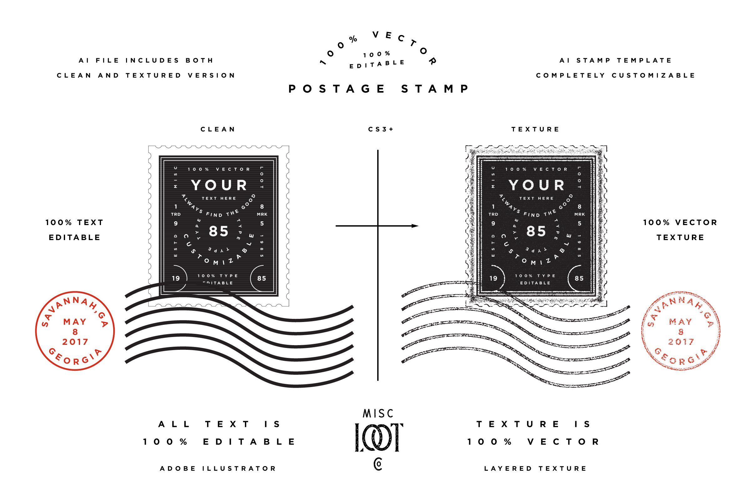 Postage stamp template graphic objects creative market for Company stamp template