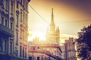 Sunset in Moscow, old town