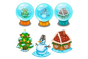 Glass balls, Christmas tree, snowman and house