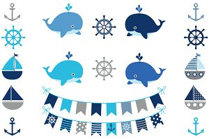 Boy nautical clipart set with whales