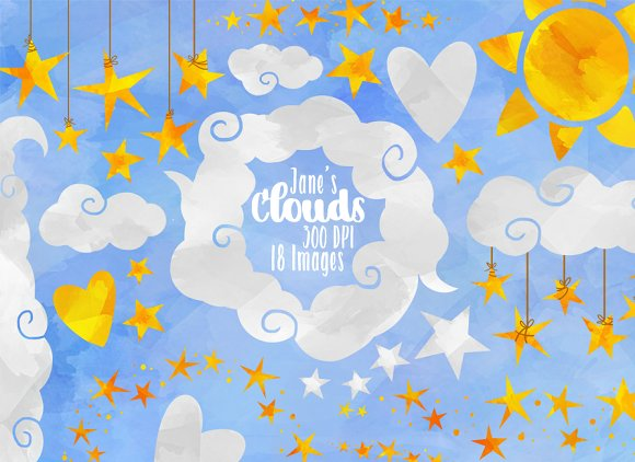 Watercolor White Clouds And Stars