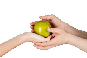 Human hands holding green apple