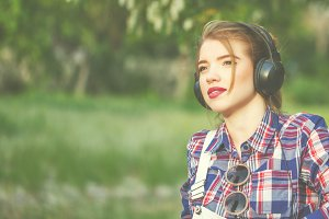 hipster girl with headphones