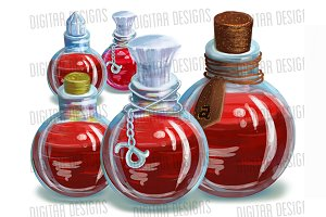 Red Magic Potions, 4 levels