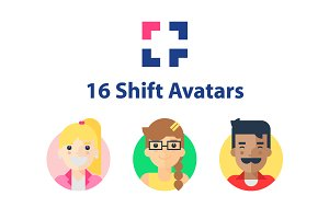 16 Avatars from Shift Icons Pack
