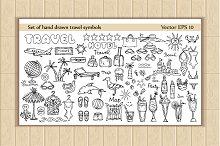 Set of hand drawn travel symbols