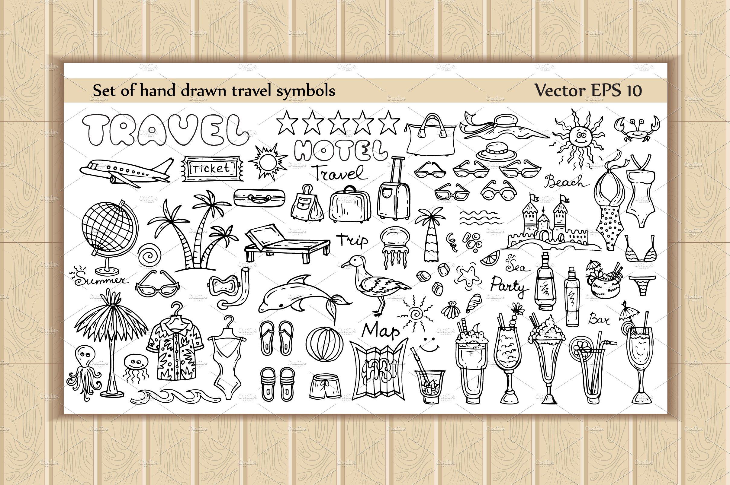 Set Of Hand Drawn Travel Symbols Graphic Objects Creative Market