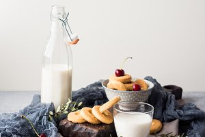 Rustic still life with milk and cookies
