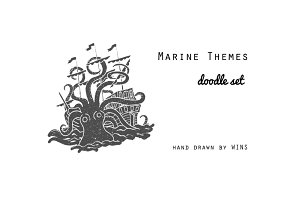 Marine Themes & Tattoo. Doodle set