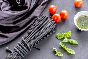 Raw black pasta