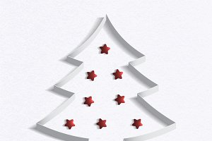 Christmas tree made ​​of white paper