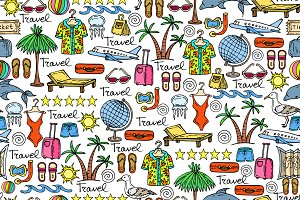 Pattern with cartoon travel symbols
