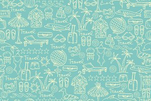Pattern with travel symbols on blue