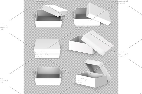 White Empty Square Open Box In Different Positions Vector Set