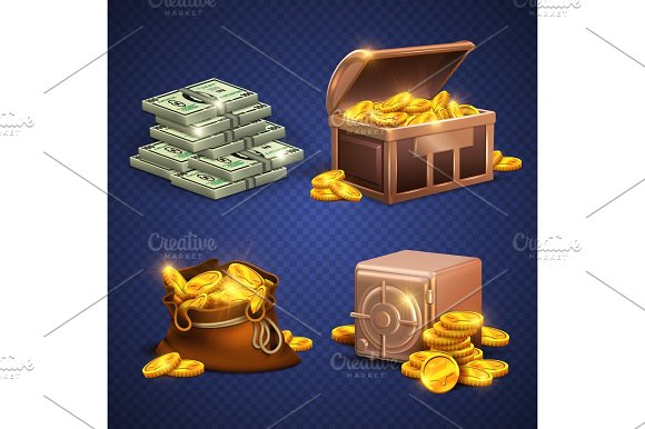 Casino Vector 3D Signs And Money Icons Dollars Gold Coins In Safe Deposit And Moneybag