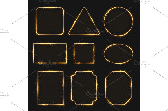 Golden Neon Shiny Electric Rectangle Borders Glisten Round And Oval Banners
