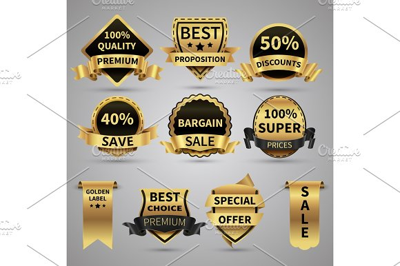 Luxury Golden Labels And Elegant Gold Emblems Vector Collection