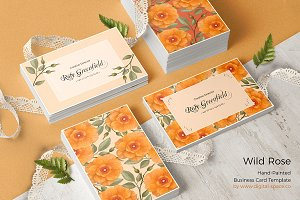 Peach Wild Rose PSD Business Card
