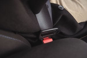 Close-up of seat belt holder